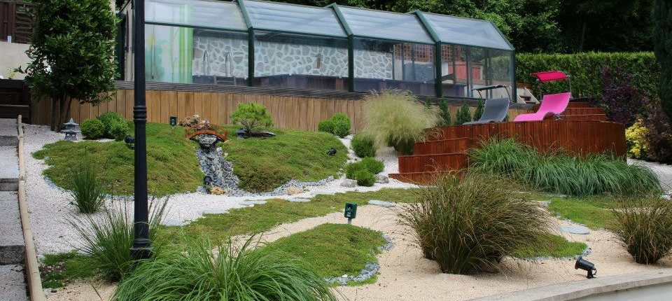 Jardin Japonais à Juziers en pente (78) - Glenn Tay Paysagiste